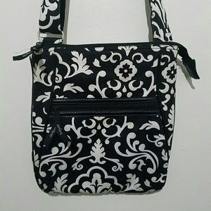 Vera Bradley Crossbody Purse Black White Floral